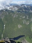 Looking down at Barclay Lake from the summit