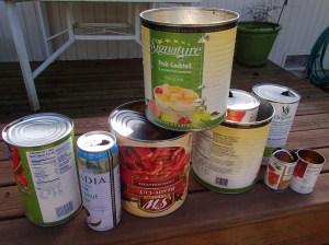 An assortment of cans