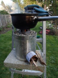 A jet stove with extended chimney