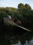 Beached garbage boat